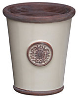 Flute motif Glazed Terracotta Cream Glazed Plant pot (H)160mm (Dia)140mm
