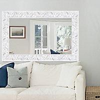 Romantic Painted White Rectangular Framed Mirror (H)1130mm (W)730mm