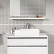 Iris Grey Gloss Ceramic Wall tile, Pack of 10, (L)400mm (W)250mm