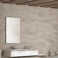 Fiji Grey Matt Stone effect Ceramic Wall tile, Pack of 10, (L)400mm (W)250mm
