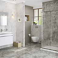 Harmony Grey Gloss Marble effect Ceramic Wall tile, Pack of 8, (L)500mm (W)250mm