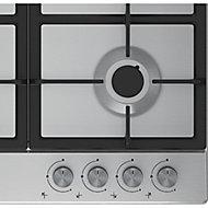 Beko HQAW 64225 SB 4 Burner Black Stainless steel Gas Hob, (W)670mm