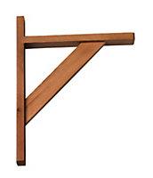B&Q Brackets Natural Walnut effect Wood Shelf bracket (D)250mm