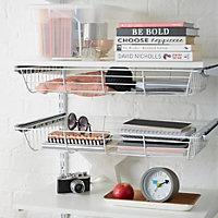 Form Twinslot White Matt Steel Shelf brackets (D)130mm