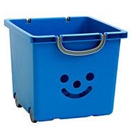 Children's smiley Blue 30.6L Plastic Stackable Storage box