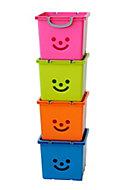 Children's smiley Orange 30.6L Plastic Stackable Storage box