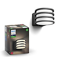 Philips Hue Non-adjustable Black & white Mains-powered LED Outdoor Wall light 806lm