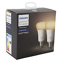 Philips E27 10W 806lm GLS Cool white LED Dimmable Light bulb, Pack of 2
