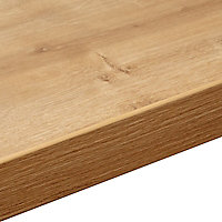 38mm Arlington Oak effect Laminate Square edge Kitchen Worktop, (L)3000mm