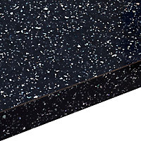 38mm Astral Gloss Black Laminate Square edge Kitchen Breakfast bar Worktop, (L)2000mm