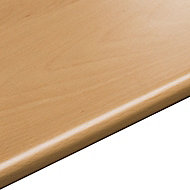 28mm Beech effect Laminate Round edge Kitchen Worktop, (L)3050mm