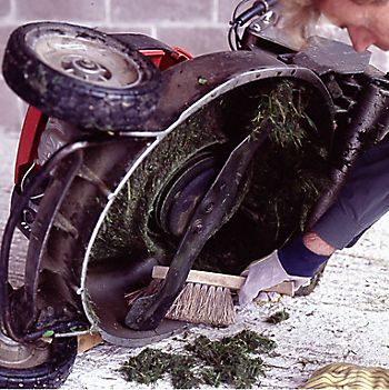 cleaning a lawnmower