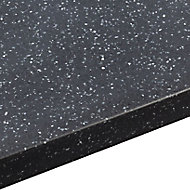 34mm Black star Black Stone effect Round edge Earthstone Worktop corner section (L)0.95m (D)950mm