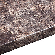 38mm Jamocha Gloss Brown Laminate Round edge Kitchen Worktop, (L)3000mm