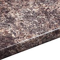 38mm Jamocha Gloss Brown Laminate Round edge Kitchen Worktop, (L)3600mm
