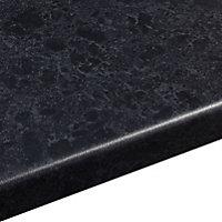 38mm Midnight Satin Black Granite effect Laminate Round edge Kitchen Worktop, (L)3600mm