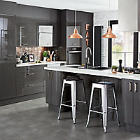 Cooke & Lewis Raffello High Gloss Anthracite Slab Tall Clad on wall panel, (W)359mm