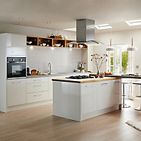 Cooke & Lewis Raffello High Gloss White Slab Tall Appliance & larder Clad on wall panel (H)940mm (W)405mm