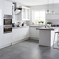IT Kitchens Santini Gloss White Slab Tall Appliance & larder Wall end panel (H)900mm (W)335mm
