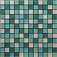 Acapulco Multicolour Glass & marble Mosaic tile, (L)300mm (W)300mm