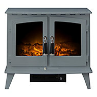 Adam Flockton Double glass fronted doors Grey Electric Stove
