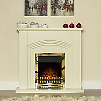 Adam Kirkdale Cream Brass effect Electric Fire suite