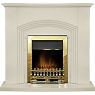 Adam Kirkdale Cream Brass effect Electric Fire suite