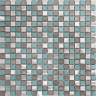 Adrano Grey Mosaic Aluminium Mosaic tile, (L)304mm (W)292mm