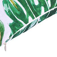 Agathe Palm leaf Green & white Cushion (L)40cm x (W)60cm