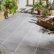 Aged Grey Matt Stone Stone effect Porcelain Outdoor Floor tile, Pack of 8, (L)200mm (W)200mm