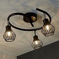 Akiak Matt Black Mains-powered 3 lamp Spotlight