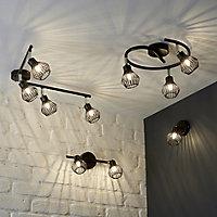 Akiak Matt Black Mains-powered 4 lamp Spotlight