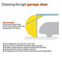 Alaska Framed White Retractable Garage door, (H)2134mm (W)2134mm