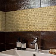 Albena Gold Metal effect Stainless steel Mosaic tile sheet, (L)300mm (W)300mm