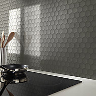 Albena Grey Metal effect Stainless steel Mosaic tile sheet, (L)300mm (W)300mm