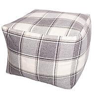 Alderney Checked Bean bag cube, Grey & lilac