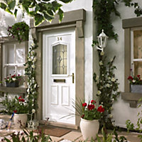 Amberley 2 panel White PVCu Glazed External Front door & frame LH, (H)2055mm (W)920mm