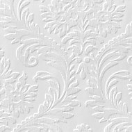 Anaglypta Luxury High traditional White Damask Blown Wallpaper