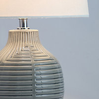 Ananke Embossed ceramic Grey Table light