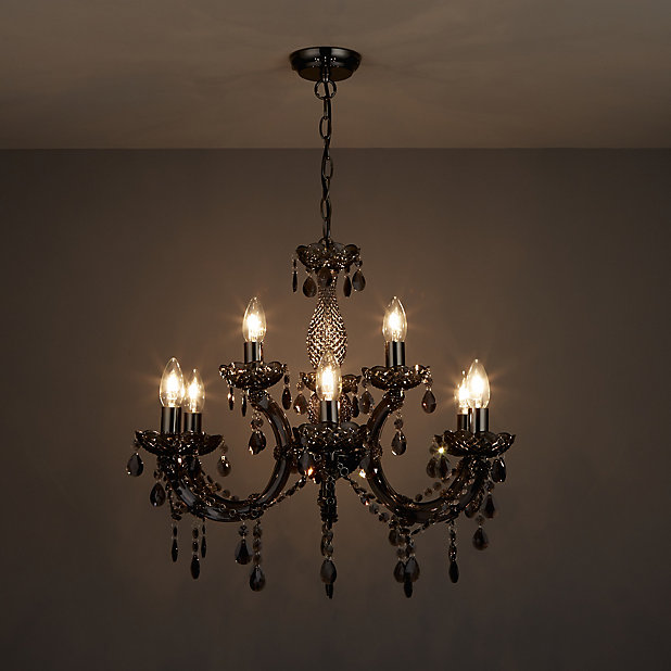 Annelise Smoked Effect 9 Lamp Chandelier Ceiling Light Diy At B Q