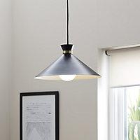 Apennin Matt Black Pendant ceiling light, (Dia)350mm