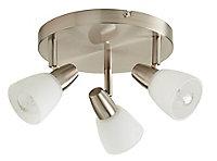 Aphaea Brushed Chrome effect Mains-powered 3 lamp Spotlight