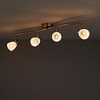 Aphaea Brushed Chrome effect Mains-powered 4 lamp Spotlight