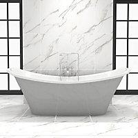 Aquila White Satin Carrara Stone effect Porcelain Floor tile, Pack of 5, (L)450mm (W)450mm