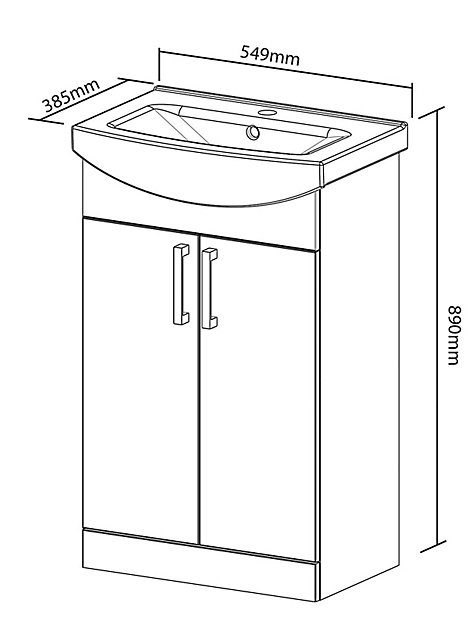 Ardenno Gloss White Vanity Unit Basin Set W 550mm Diy At B Q