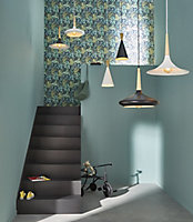 Arraqis Matt Black Wood effect Pendant ceiling light, (Dia)360mm