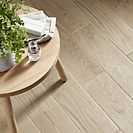 Arrezo Beige Matt Wood effect Porcelain Floor tile, Pack of 14, (L)600mm (W)150mm