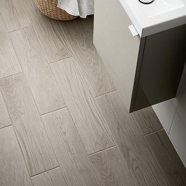 Arrezo Grey Matt Wood Effect Porcelain, Grey Wood Tile Bathroom