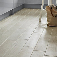 Arrezo White Matt Wood effect Porcelain Floor Tile Sample
