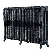 Arroll Montmartre 3 Column Radiator, Black & silver (W)1234mm (H)760mm